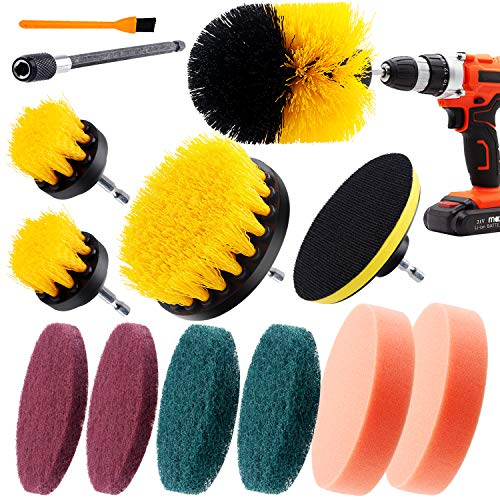 12 pcs Drill brush Attachment kits,4 Drill Brushes+ 6 Scouring Pads Drill Brush+ 1Power Scrub Pad Brush+ 1 Extender, Cleaning Sets for Car/Bathroom/Floor Surfaces/Tub/Shower Tile Corners/Kitchen