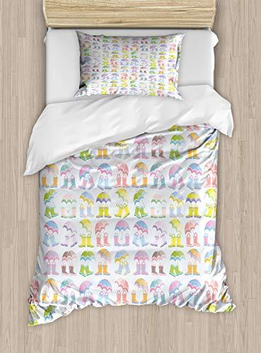 ABAKUHAUS Paraplu Dekbedovertrekset, Seizoen van de daling Boots and Rain, Decoratieve 2-delige Bedset met 1 siersloop, 130 cm x 200 cm, Baby Blue Multicolor