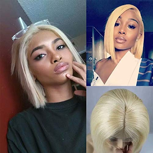 Zhangxiuzhu Hair Short Bob Straight Wig Human Hair 613 Blonde Color 8 Short Brazilian Hair Glueless Full Lace Wigs With Baby Hair Natural Hairline Glueless Front Lace Bob Wig Wantitall
