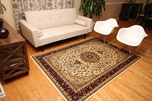 Feraghan/New City Traditional Isfahan Wool Persian Area Rug, 8' x 10', Cream 10' Rug No Fringe