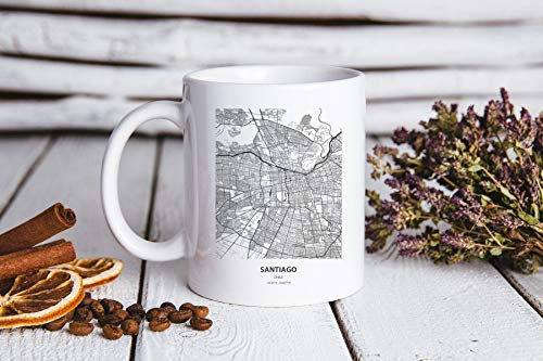 DKISEE Moving to Santiago Chile Map Gifts, Moving to Santiago Chile Map Taza de té con mapa de Chile, regalo de cumpleaños para hombres y mujeres