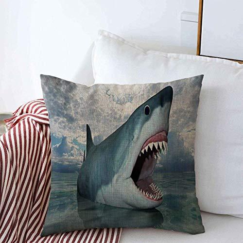 N\A Throw Pillow Case Fish CG Rendering Shark Nature Big Great Mouth White Danger Design Farmhouse Square Cojín Fundas de Almohada para Decoraciones del hogar