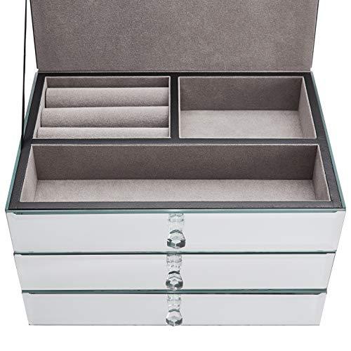 AmazonBasics Mirrored Jewelry Box-3-Drawer, Walnut