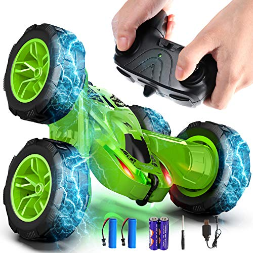Remote Control Car, Durable RC Stunt Cars Toys for Kids, Double Sided Rotating 360°Flips with Dual-Color Headlights- Toy Gifts for 2, 3, 4, 5, 6, 7, 8 Year Old Boy (4 Batteries Included)