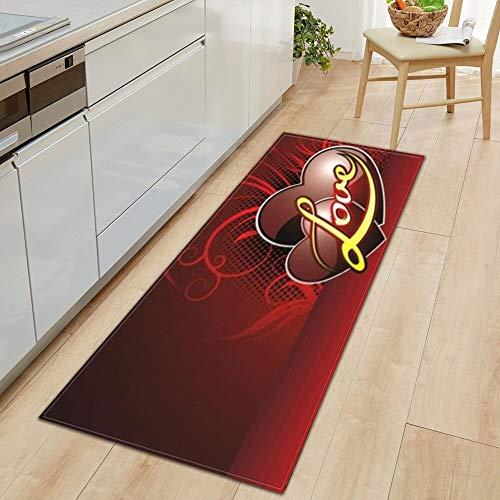 Alfombra antideslizante para cocina, dormitorio, baño, hogar, impresión 3D, decoración del suelo, alfombra A19, 50 x 80 cm