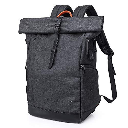 Neusky wasserdichter Laptop Rucksack Kurierrucksack Uni Rucksack Schulrucksack USB Rucksack Backpack + Regenschutz für Damen, Herren (Schwarz)