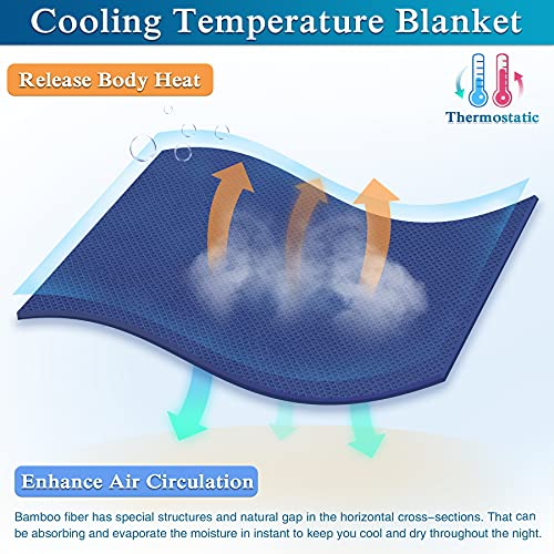 Kpblis Cooling Blankets for Summer, Thin Lightweight Blanket Queen Size, Summer Blanket for Sleeping, Bamboo Cool Blanket for Night Sweat and Hot Flashes (79x91 inches, Navy)