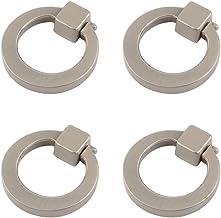 Welldoit Modern Cabinet Drawer Pull Handle Dresser Wardrobe Cupboard Knob Ring Pack of 4 (Brushed)