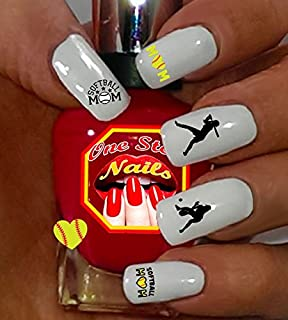 Softball Mom For You: Set of 78 Clear waterslide nail art decals with Softball Mom Art and Logos.SBM-001-78 by One Stop Nails