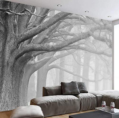 Fotobehang 3D fotobehang zwart en wit bos boom kunst muur koffie restaurant slaapkamer decoratie huis waterdicht 3D muur (W)250x(H)175cm (W)250x(h)175cm