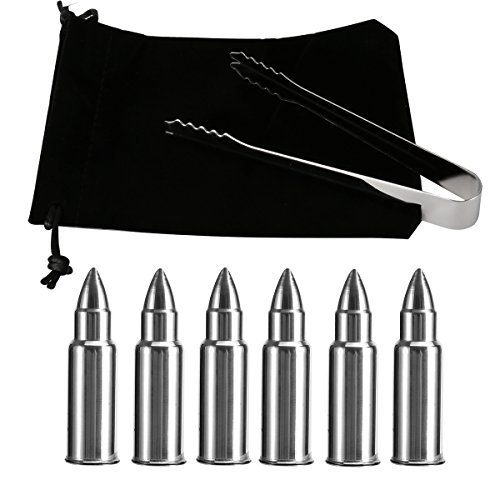 Stainless Steel Bullet Shaped Whiskey Stones Set - 6 Pack- Premium Beverage Chiller- Ice Stones For Whiskey, Vodka,Beer- Present Box & Tongs & Freezer Pouch(ZLC4)