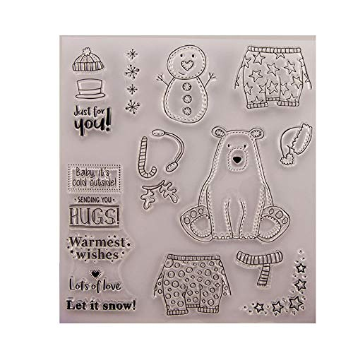 Bear Snowman Warmest Wishes Stamp Rubber Clear Stamp/Seal Scrapbook/Photo Album Decorative Card Making Clear Stamps