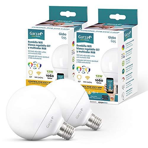 Garza  Smarthome - 2 Bombilla LED Globo G95 Intelegente Wifi E27, luz blanca neutra regulable con cambio de intensidad, temperatura y color. Programable, compatible con Amazon Alexa y Google Home.