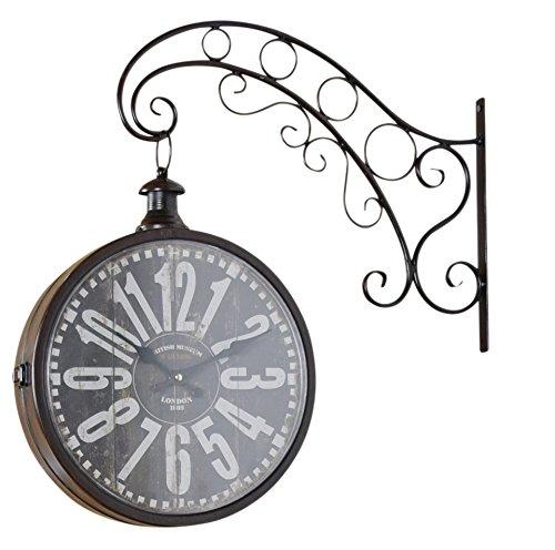 elbmöbel Reloj de pared de metal marrón vintage, reloj de estación de tren, estilo rústico
