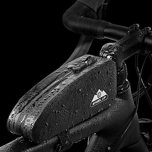 Luckly Bolsa Bicicleta Manillar, Impermeable Bolsa Bicicleta Tubo Frontal, Bolsa para Cuadro Bicicleta, para Bicicleta Carretera Tubo Frontal Gran Capacidad, Velcro Ajustable/Material Reflectante