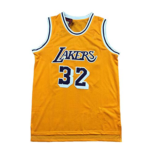 Legende Basketball Trikot,32# Earvin Johnson Los Angeles Lakers Stickerei Atmungsaktives Swingman Trikot, 90S Hip Hop Kleidung T-Shirt Top für Party (XS-XXL)-Yellow-L(180.185cm)