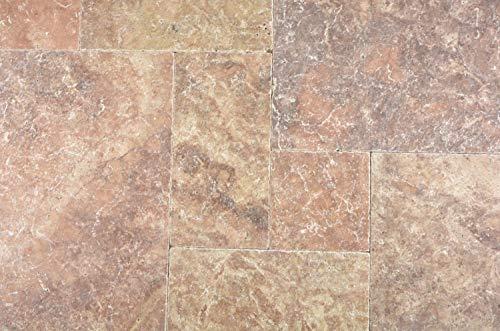Natuursteen tegel Romeinse verbanding rosso antiek travertine voor wand badkamer toilet keuken tegelspiegel tegelverkleeding badkuip kledding | 6 tegels