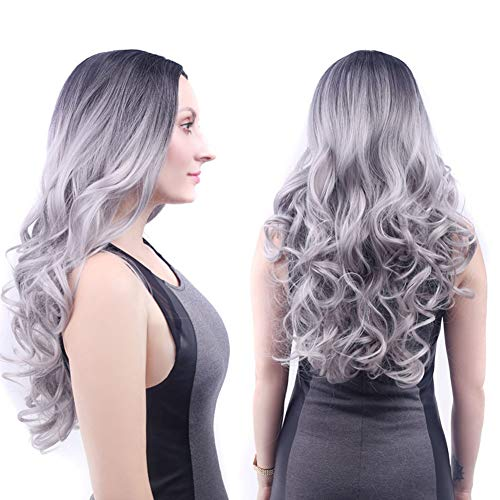 HAIRCARE Longue Perruque Grise pour Les Femmes,Perruques Silver Gray Natural Black Roots Curly Synthetic Hair Full Perruques pour Les Femmes
