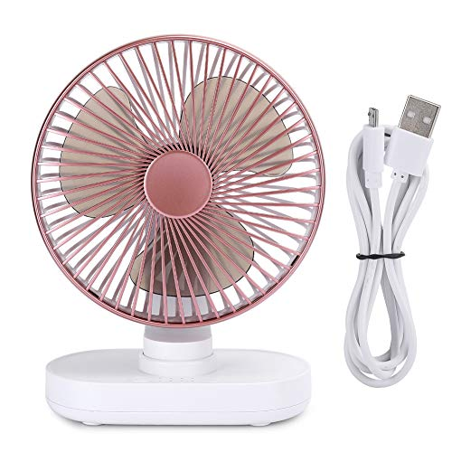 Ventilador de escritorio USB, mini ventilador silencioso de mesa de escritorio personal portátil de 4 velocidades, ventilador de escritorio recargable USB/tipo c, para escritorio de mesa(Oro rosa)