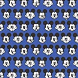 Disney Mickey Expressions Blue Premium Quality 100% Cotton Sold by The Yard.