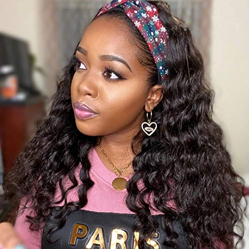 Deep Wave Headband Wigs for Black Women 18inch Headband Wig Curly Human Hair Band Wig 150% Density Easy Wear Wigs with Headbands Attached None Lace Wig with Elastic Band Inside Human Hair Half Wig