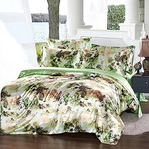Funda Nordica Cama 180,Caja de seda de seda 3D, ropa de cama fresca para la piel, cinturón de cama de cama doble de cama doble, juego de cuatro piezas sano respetuoso con el medio ambiente-J_1,8 m de