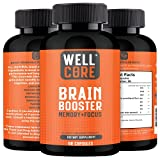 WELL CORE Brain Booster – Nootropic Dietary Supplement for Memory Boost – 60 All-Natural Capsules to Enhance Focus & Improve Concentration & Clarity – Brain Health & Better Cognitive Performance