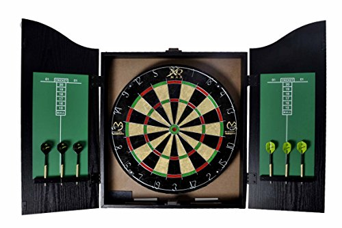 XQMAX Home Dart Center Michael van Gerwen, incl. sisal dartboard, 6 stalen dart, krijt en wisser