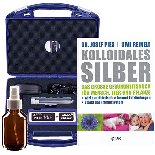 Ionic-Pulser® PRO3 Silber-Generator + Buch kolloidales Silber herstellen anwenden + 1 x Sprühflasche 100ml