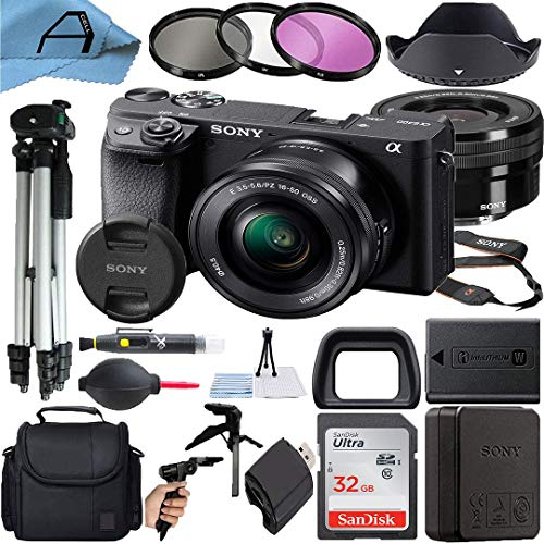 Sony Alpha a6400 Mirrorless Digital Camera 24.2MP Sensor with 16-50mm Lens, SanDisk 32GB Memory Card, Case, Filters, Tripod and A-Cell Accessory Bundle (Black)