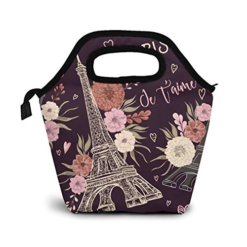 Reusable Lunch Bag, Paris Eiffel Tower Lunch Bag Picnic Office Outdoor Thermal Carrying Gourmet Lunchbox Beautiful Flowers Floral Lunch Tote Container Tote Cooler Warm Pouch For Men,Women