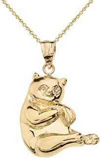 Solid 14k Yellow Gold Panda Bear Charm Pendant Necklace