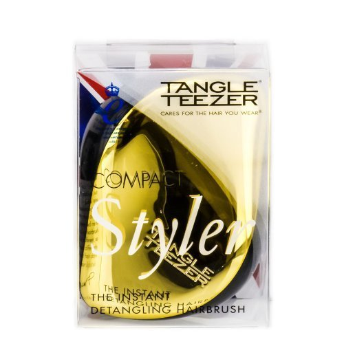 Tangle Teezer Compact Styler – Hair Brush – Black/Gold by Tangle Teezer Beauty (English Manual)