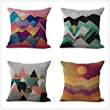 OCCIGANT Set of 4 Mountain Sun Throw Pillow Covers Cartoon Landscape Watercolor Sunrise Sunset Stripe Hill Modern Simple Decorative Pillowcase Cotton Linen Cushion Covers for Sofa Bed 18x18 Inch