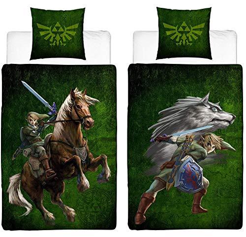Familando Juego de cama reversible The Legend of Zelda, 135 x 200 cm y 80 x 80 cm, 100% linón de algodón con cremallera y logotipo de Wolf Link y Triforce