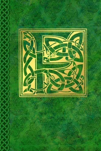 Celtic Letter F Vintage Irish Monogram Journal: Green Gold Celtic Knot Name Initial Diary Blank Lined Book