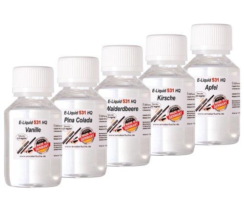 5 x 100 ml E-Liquid - No. 531 HQ - MIX 2 - Vanille PinaCola Wald-Erdbeere Kirsche Apfel - 0,0mg Nikotin - MADE in GERMANY