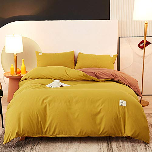 WSNALGQ 3D Printed Bedding Duvet Cover Set 4 Pieces Turmeric orange solid color Microfiber Duvet Cover Double Size 71x86.6 1 sheet+2 pillowcases 50x75cm for adults, teenagers and children