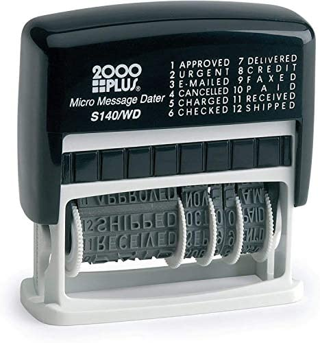 """2000 PLUS 12-in-1 Self-Inking Date and Message Stamp, 1 1/16"""" x 5/32"""" Impression, Black Ink (011090)"""