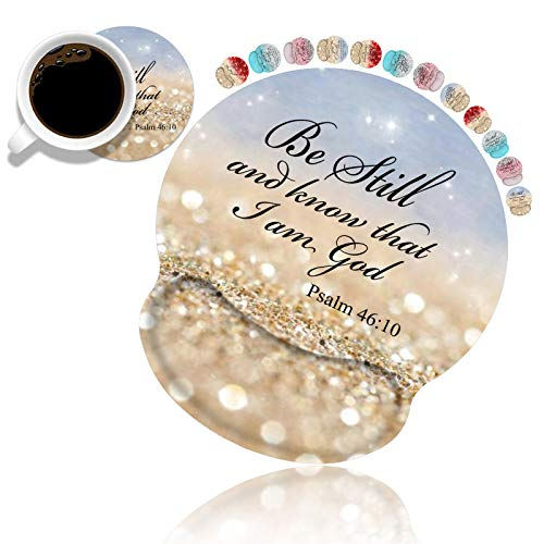 Ergonomic Mouse Pad Wrist Support and Coasters Set, Gaming Mouse Pad with Lycra Cloth, Non-Slip PU Base for Computer Laptop Home Office, Rainbow Glitter Christian Quote Bible Verse Psalm 46:10