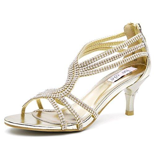 SheSole Damen Sandaletten - Klassische Damen-Schuhe mit Strasssteinen, modische Riemchensandalen als High-Heels mit Absatz, Gold, 39 EU