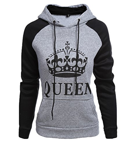 ZKOO Pareja Sudaderas con Capucha Mujeres y Hombres King & Queen Corona Impresión Camisas Jersey Hoodie Casual