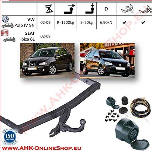 ATTELAGE avec faisceau 13 broches | Volkswagen Polo IV 9N / Seat Ibiza 6L de 2002 à 2009 Hayon / crochet «col de cygne» démontable avec outils