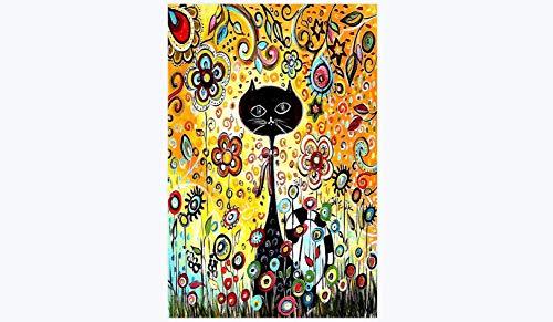 Qingdewan Puzzle 1000 Pieces - Chat Noir en Fleurs abstraites Adultes Enfants en Bois Puzzle...