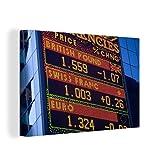 MuchoWow Photo sur toile - Les taux de change de la livre vus sur les écrans à New York - 150x100 cm - Avec Cadre