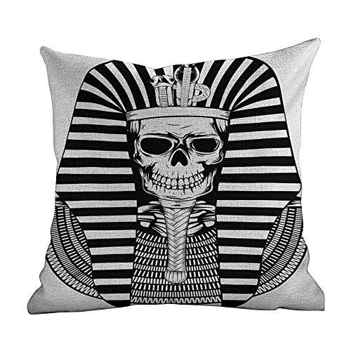 standard pillowcase King,Egyptian Pharaoh Ruler Mummy Skull Skeleton Statue for Ancient Egypt Lovers Print,Black and White,Standard Square Cushion Cover for Sofa Bedroom Men Women 18'x18'inch