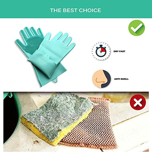 Household Cleaning Gloves, for Dishwashing, Kitchen Cleaning, Bathroom, Pets, Car Washing, Window Cleaning (Green)