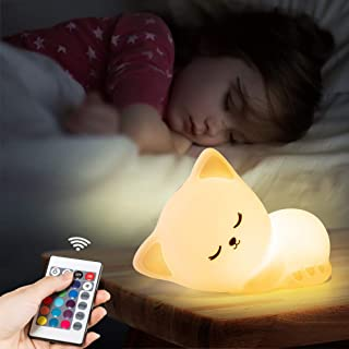 Cute Kitty Night Light with Remote Control,Rechargeable Nursery Animal Nightlight for Kids Baby Toddler,Kawaii Led Cat Squ...