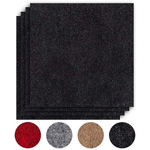 andiamo Teppichfliesen selbstklebend Teppichboden Bodenbelag Nadelfilz Fliese 40 x 40 cm - Set, Farbe:Anthrazit, Größe:8 m²