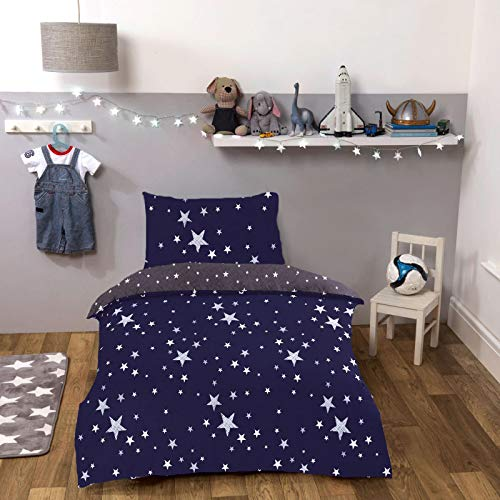 Dreamscene Galaxy Stars Duvet Cover with Pillowcase Kids Toddler Reversible Bedding Set, Navy Blue Grey - Junior/Cot